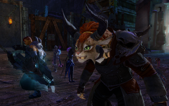 A screenshot from Guild Wars 2 showing Braham, a male Norn, on the left, and Rox, a female charr, on the right in the foreground.